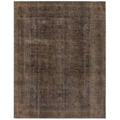 Vintage Gray Overdyed Persian Rug, 9.09x12.07