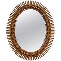 Italian Rattan Oval Wall Mirror (circa 1960s)