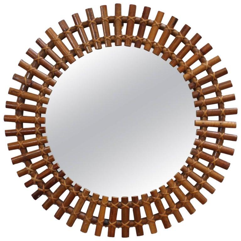Italian Sunburst Rattan Wall Mirror (circa 1960s)