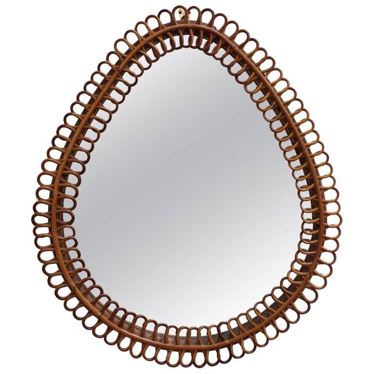 Italian Teardrop Rattan Wall Mirror (circa 1960s)