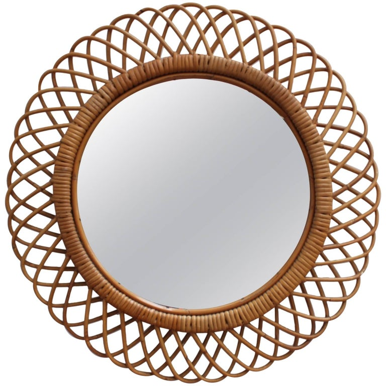 Italian Sunburst Rattan Wall Mirror (circa 1960s) For Sale