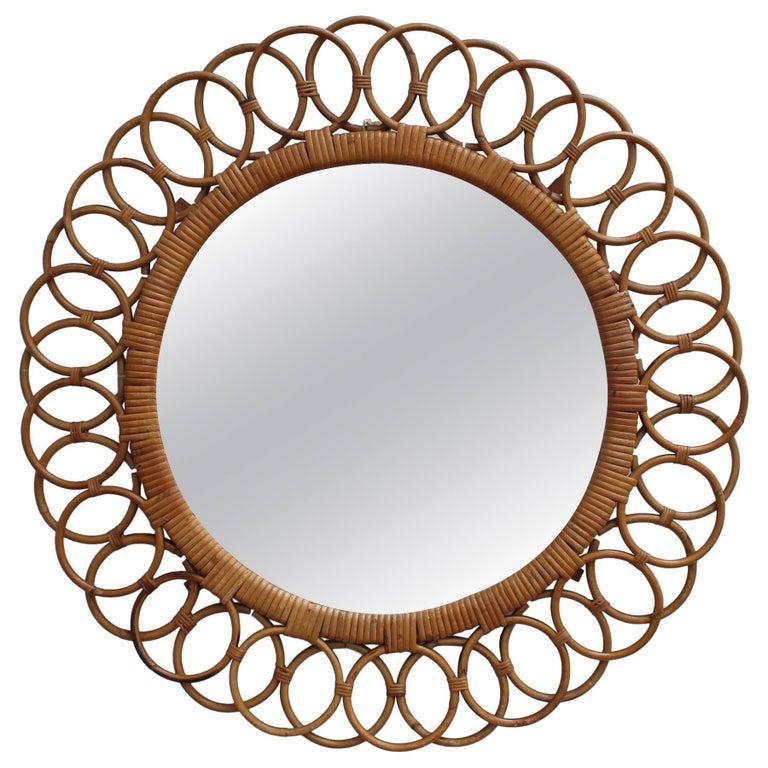 Italian Sunflower Shaped Rattan Wall Mirror (circa 1960s)