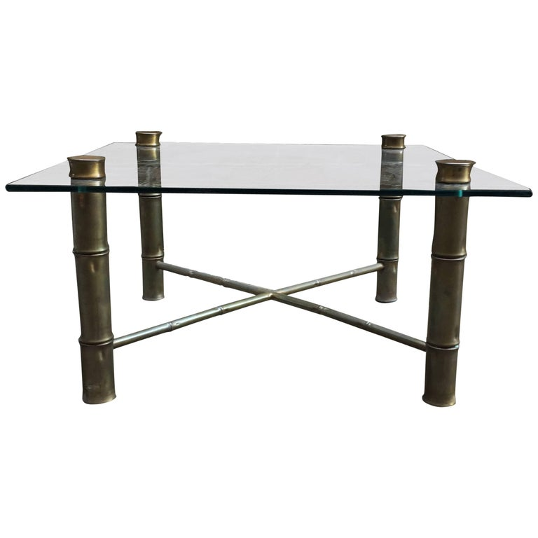 Faux Brass Bamboo and Glass Coffee Table