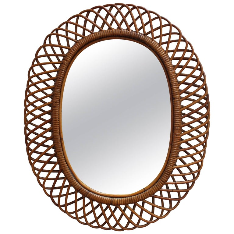 Italian Rattan Wall Mirror, circa 1960s