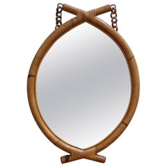 Italian 'Eye-Shaped' Style Bamboo and Rattan Mirror with Hanging Chain