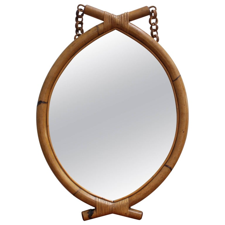 Italian 'Eye-Shaped' Style Bamboo and Rattan Mirror with Hanging Chain For Sale