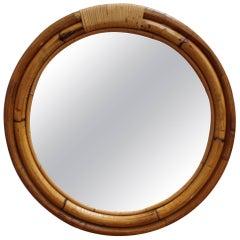 Italian 'Porthole' Style Bamboo and Rattan Mirror (circa 1960s)