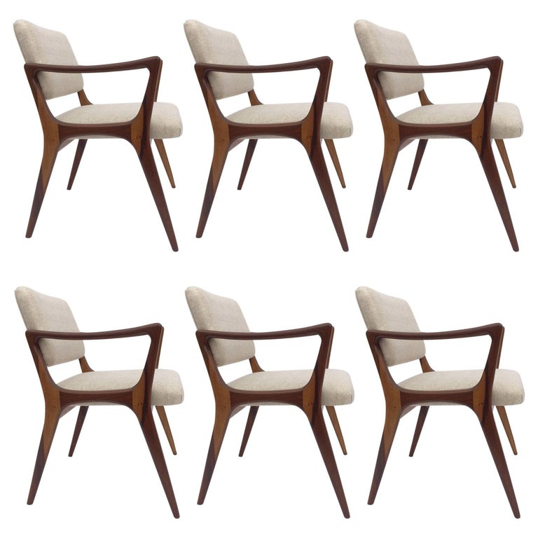 Six Sculptural Dining Chairs in the Style of Gio Ponti
