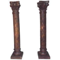 Early 20th Century Pair of Carved Wood Column with Wine Grapes and Vine Leaves