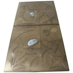 Two Matching Acid Etched Decorative Wall Panels, Matching Agates