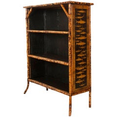 English 19th Century Bamboo Découpage Fish Bookcase