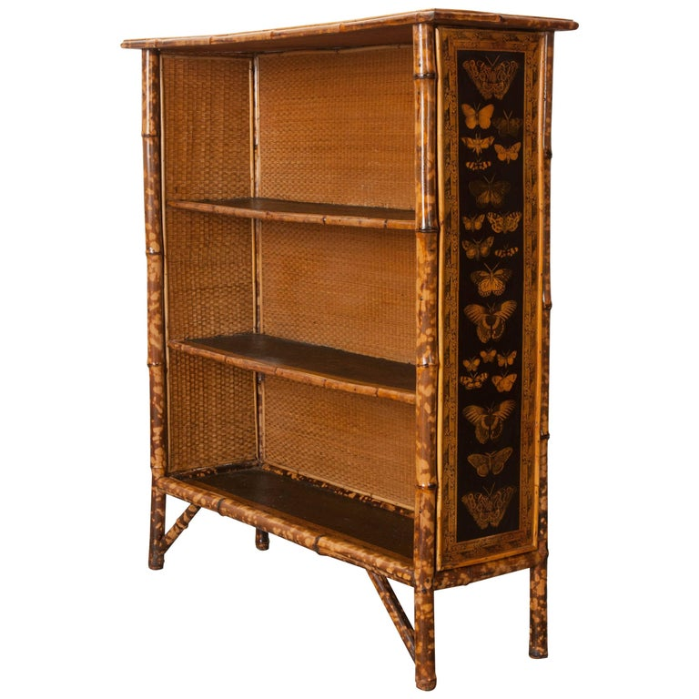 English 19th Century Bamboo Découpage Moth Bookcase