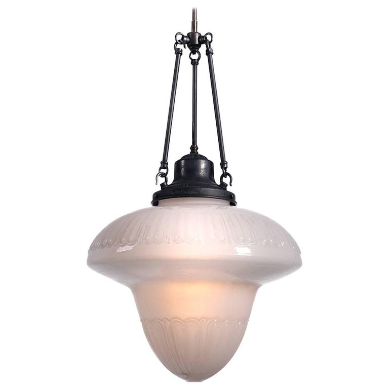 Large Classic Milk Glass Pharmacy Lamp For Sale
