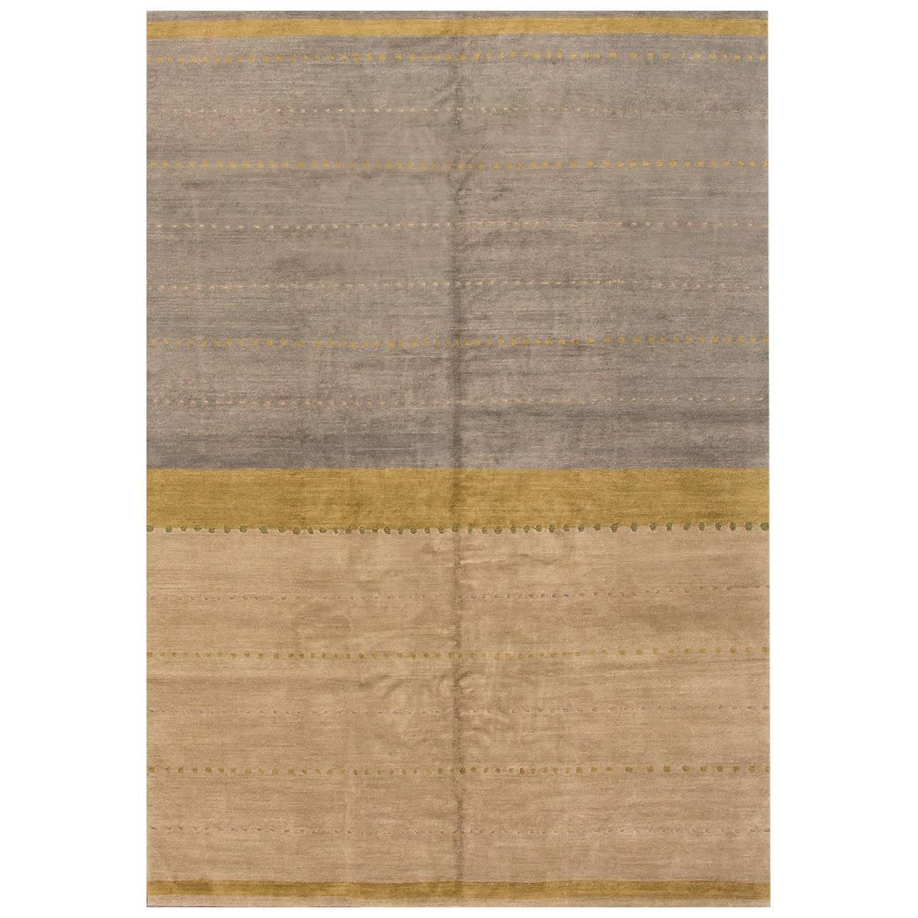 21st Cent. Contemporary Beige and Gray Tibetan Rug, 10x14