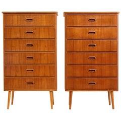 Pair of 1970's Scandinavian tall teak chest of drawers