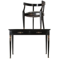 French Early 20th Century Ebony Empire Desk and Chair