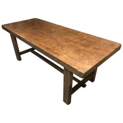 Thick Top Rustic Elm Farmhouse Table