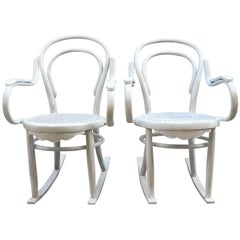 20th Century White Patina Bentwood Rocking Chair Thonet Style