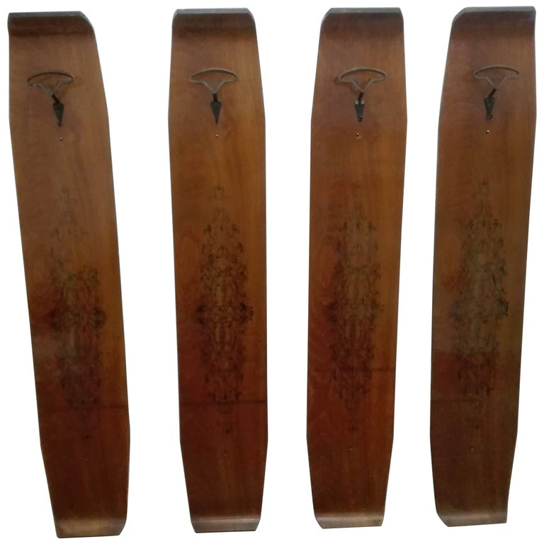 four elements in vintage teak coat hanger with drawings attribution Campo e Graf