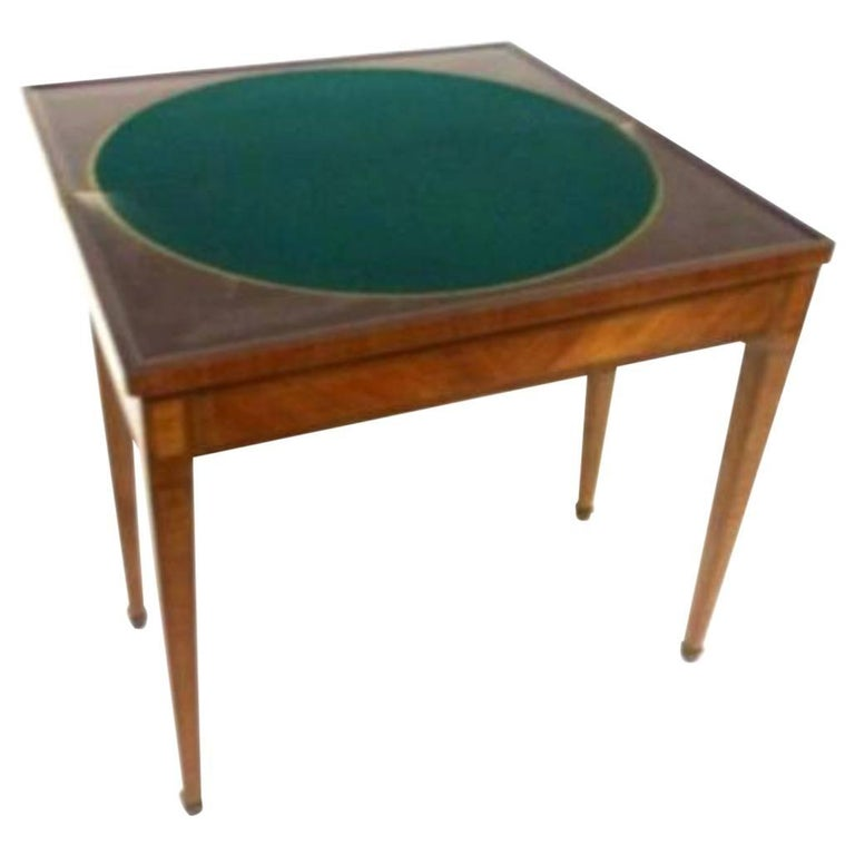 19th Century French Marquetry Card Table, Louis XVI Period