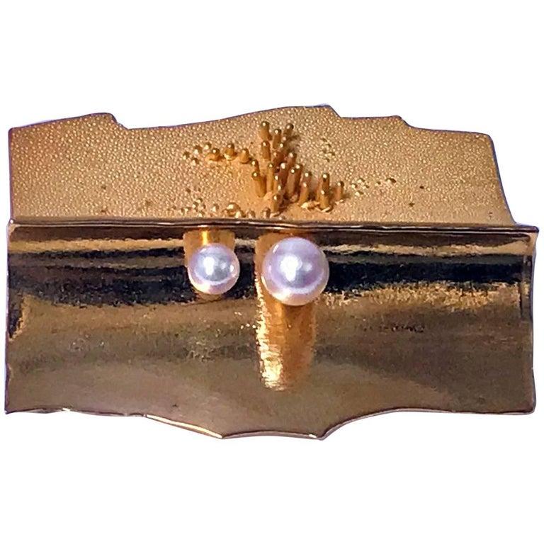 Walter Schluep 18-Karat Abstract Brooch Pin, circa 1970