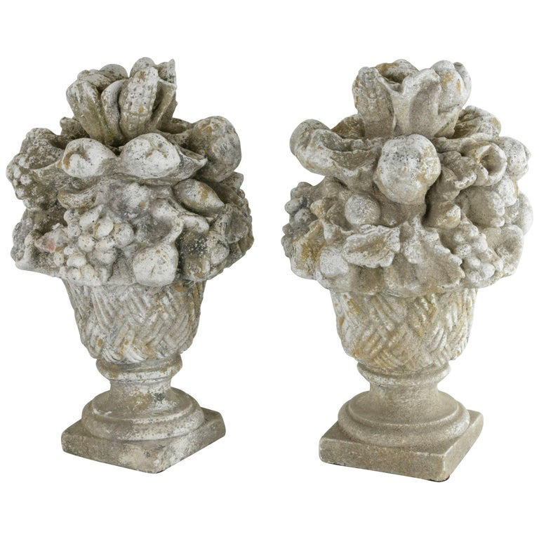 Pair of French Stone Sculptures with Bouquets of Fruit, circa 1900