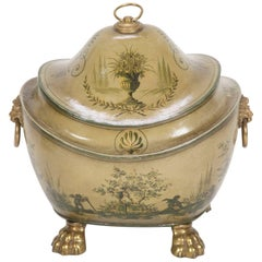 English Regency Olive Green Tole Painted Coal Scuttle with Domed Lid