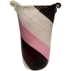 Dino Martens Artistic Blown Glass of Murano Vase Pink Violet and White 1950