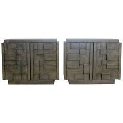 Pair of Charcoal Grey Lane Mosaic Brutalist Nightstands