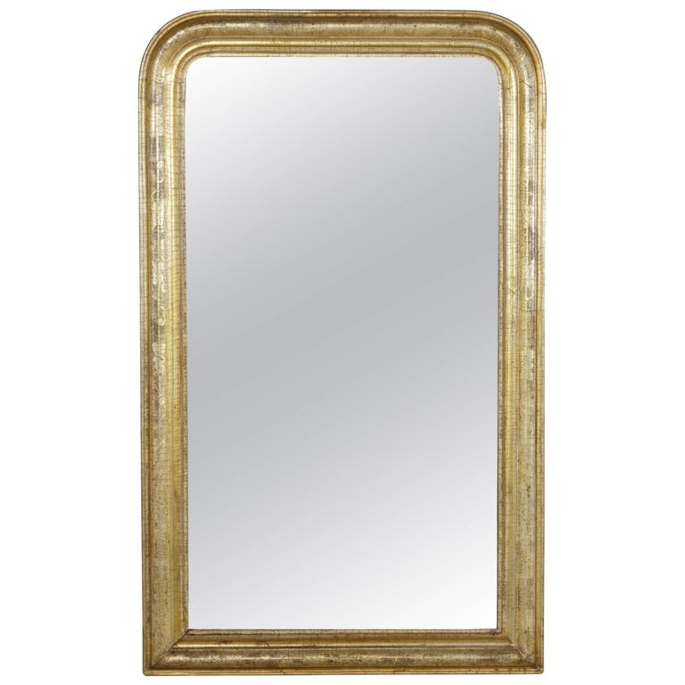 19th Century French Louis Philippe Gilt Wood Mirror with Silver and Gold Patina
