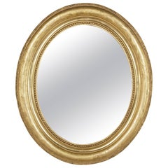 Small-Scale 19th Century French Oval Giltwood Mirror Napoleon III Period