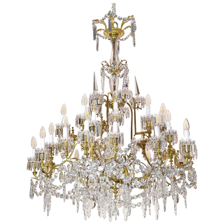 Glass and Bronze Chandelier, 19th Century