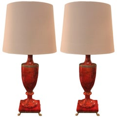 A Pair of Red Polished Italian Alabaster Urn Lamps