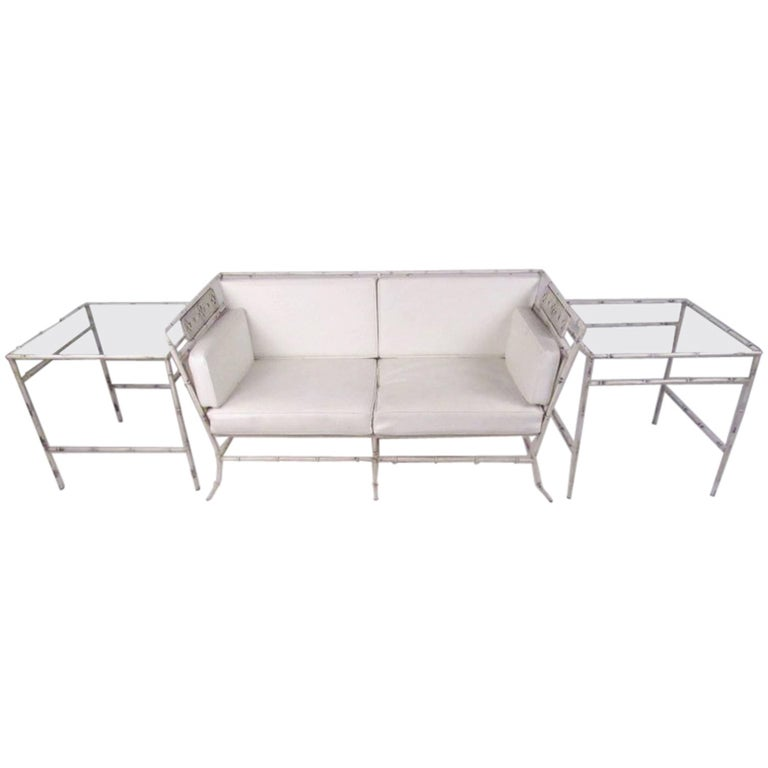 Salterini Faux Bamboo Patio Set with Sofa and Side Tables