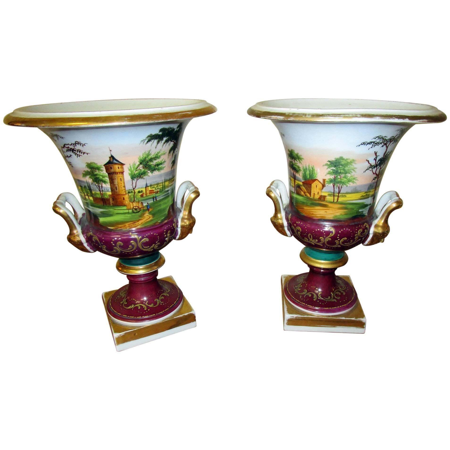 Pair of Vieux Paris Campagna Form Urns