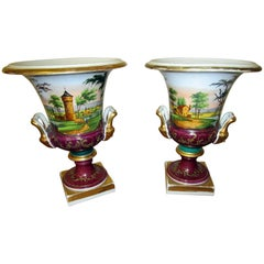 Pair of Vieux Paris Campagna Form Urns