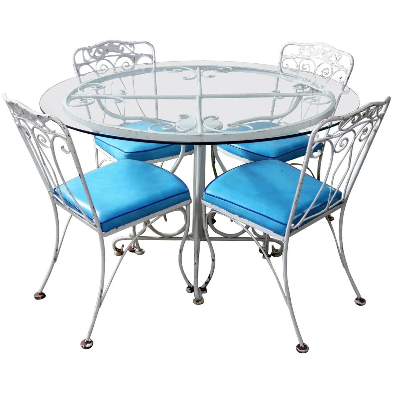 Salterini style wrought iron patio set round table four chairs turquoise seats for sale at 1stdibs