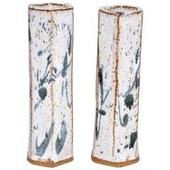 Pair of Classic Low-Fire Ceramic Stoneware Flower Vases