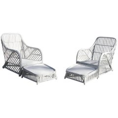Stick Rattan Lounge Chair and Ottoman Pair