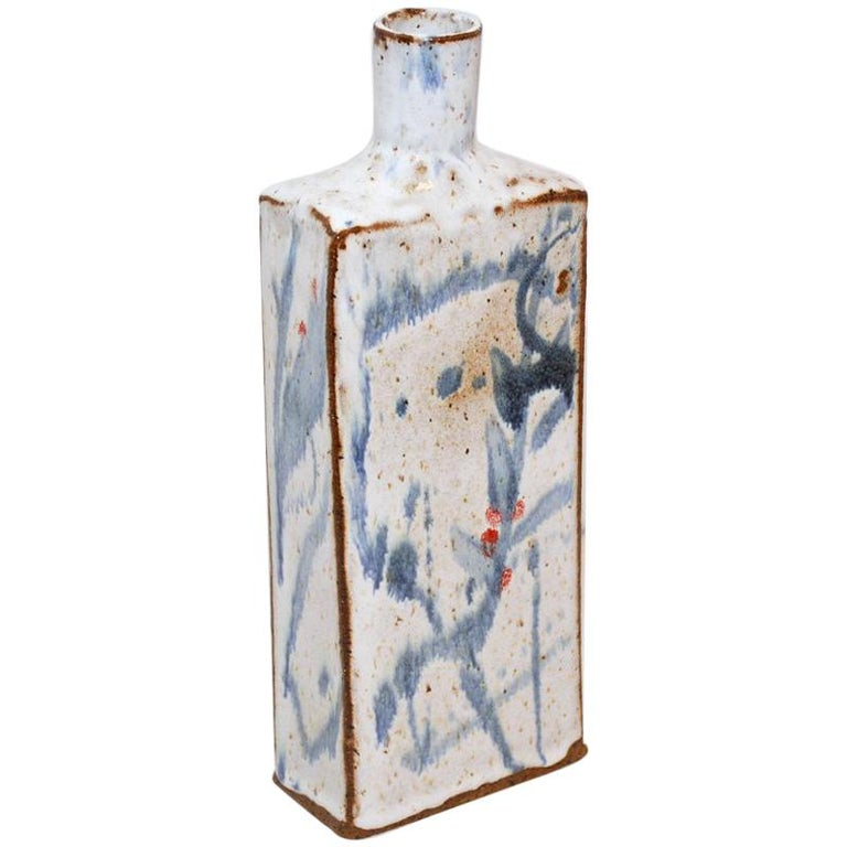 Classic Low-Fire Ceramic Stoneware Bottle For Sale