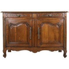 19th Century French Louis XV Hand-Carved Oak Buffet with Secret Drawer