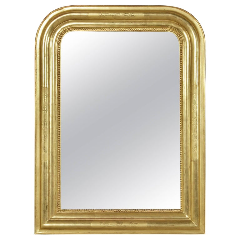 Small Scale 19th Century French Louis Philippe Giltwood Mirror