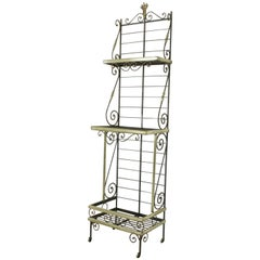 Mid-20th Century French Iron Baker's Rack with Brass Trim and Shock of Wheat