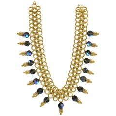 Italian Costume Runway Necklace in Gold and Blue by Justin Joy
