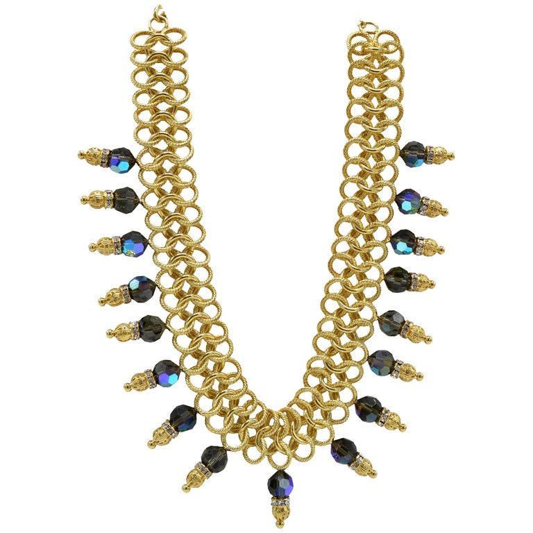Italian Costume Runway Necklace in Gold and Blue by Justin Joy For Sale