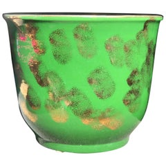 Rare Pacific Pottery Green and Gold Metallic Jardinière