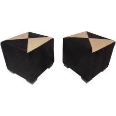 Pair of Mid-Century Modern Cube Ottoman's