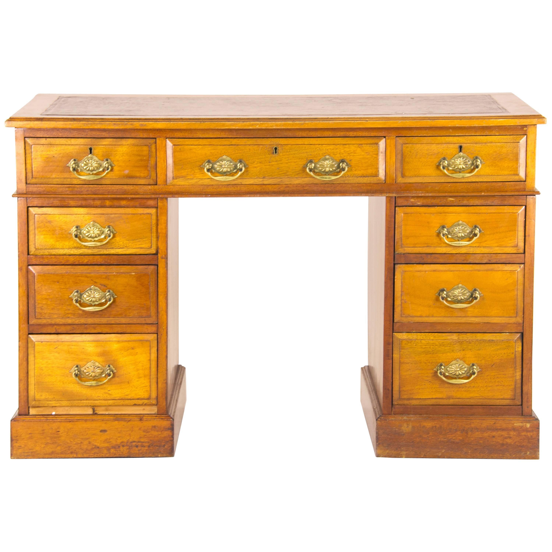 Antique Desk, Pedestal Desk, Leather Top Desk, Double Pedestal Desk, B926  For