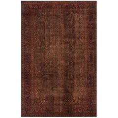 Vintage Distressed Brown Overdyed Persian Carpet, 9.10x15.09