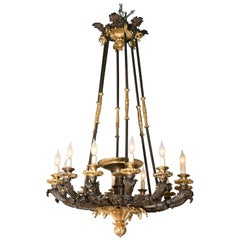 Palatial D'Ore and Patinated Bronze Napoleonic Twelve-Light Chandelier